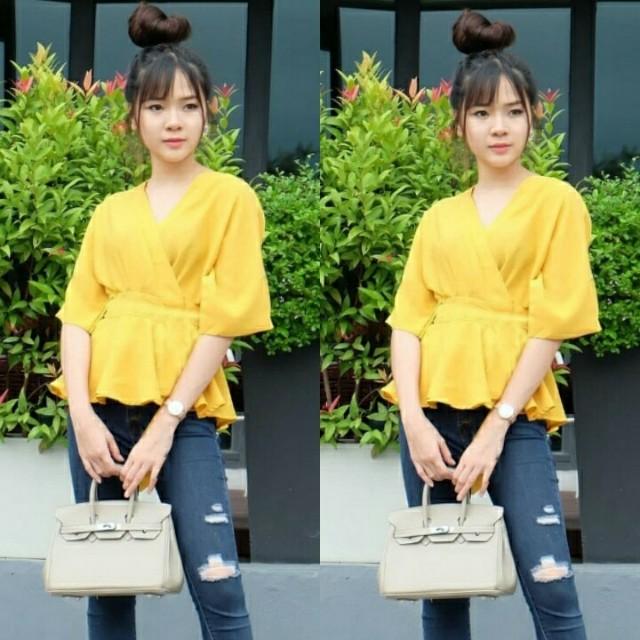 Gummy mustard blouse wanita cewek