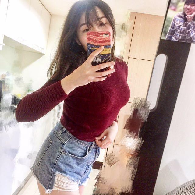 H&M棗紅短版長袖上衣(含運!含運!含運!)