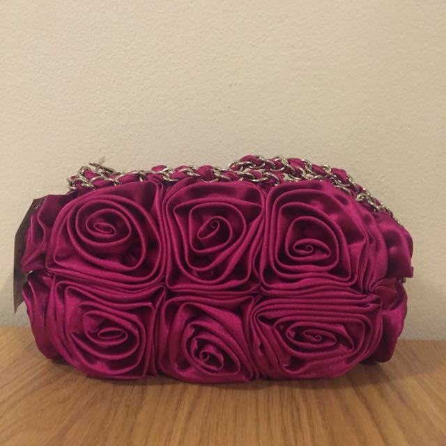 Hot Pink Satin Clutch