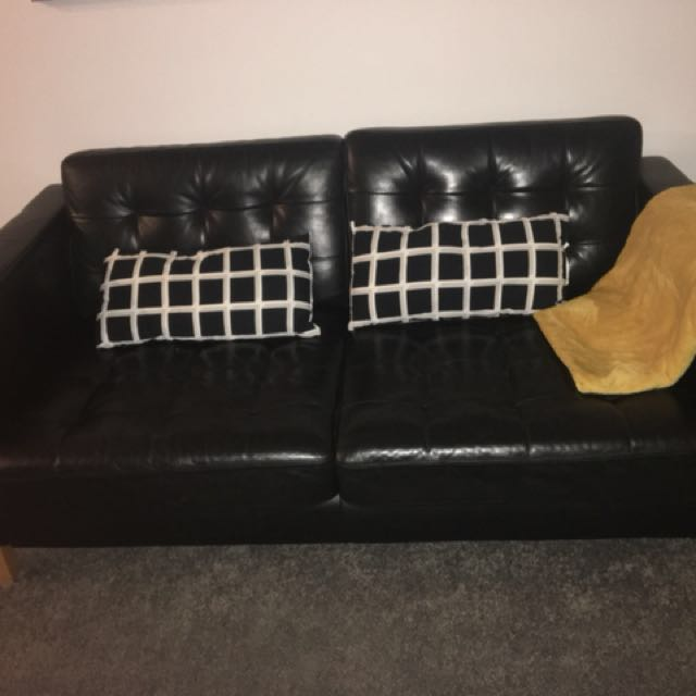 Ikea black leather couch