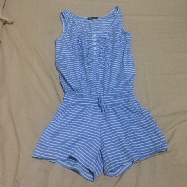Jump suit blue stripes