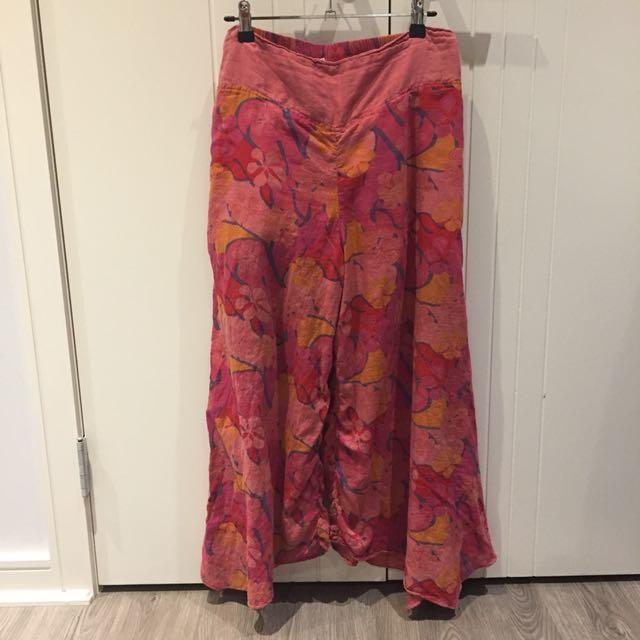 (L) wide-leg cropped pants