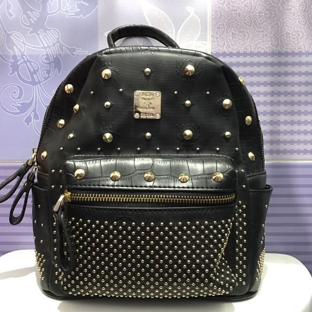 Limited Edition Authentic MCM Backpack Black Mini Gold Studded