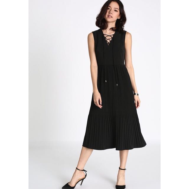 825c1bac05 Lovebonito Locera Pleated Midi Dress in Black (XS)