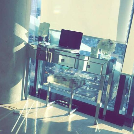 Mirrored console table vanity