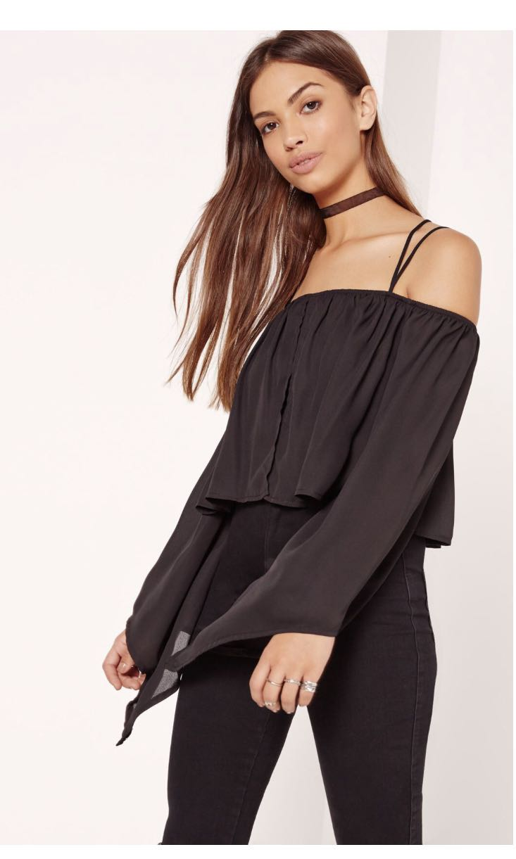 MISSGUIDED BARDOT OFF THE SHOULDER BLACK CHIFFON TOP
