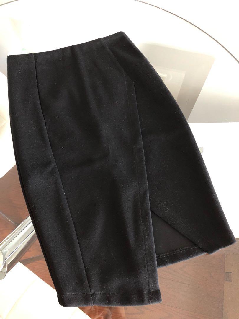 Nameless Black Asymmetrical Pencil Skirt Size Small