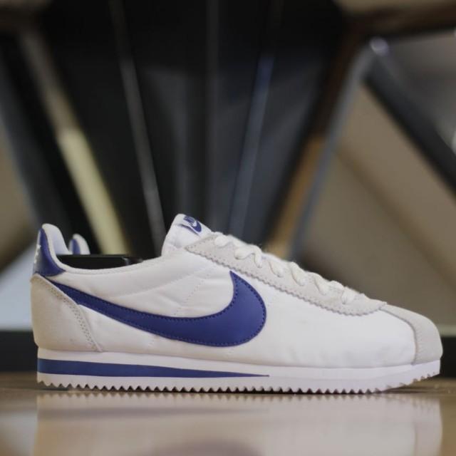 Nike Cortez Blue Nylon Fesyen Pria Sepatu Sneakers Di Carousell