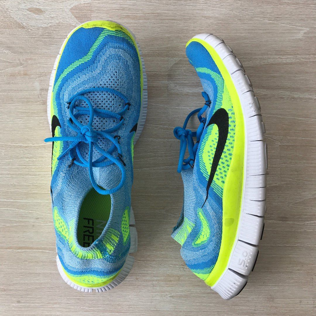 NIKE Free Flyknit + Neon Yello and Baby Blue Shoes