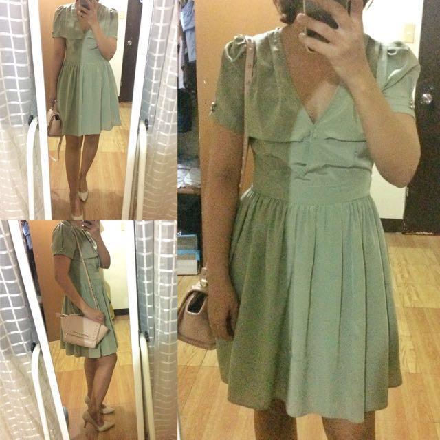 Olive Green Overlap Dress