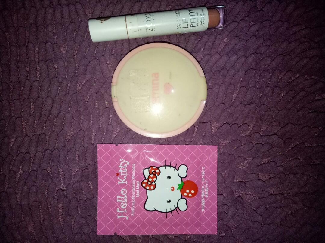 Paket B (bedak emina Free lips zoya+ Masker helkit)