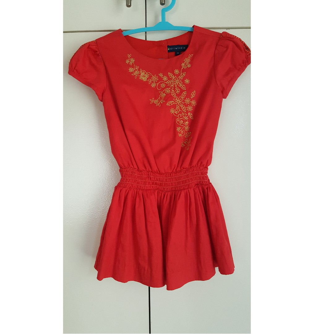 Periwinkle Red Dress with Gold Details