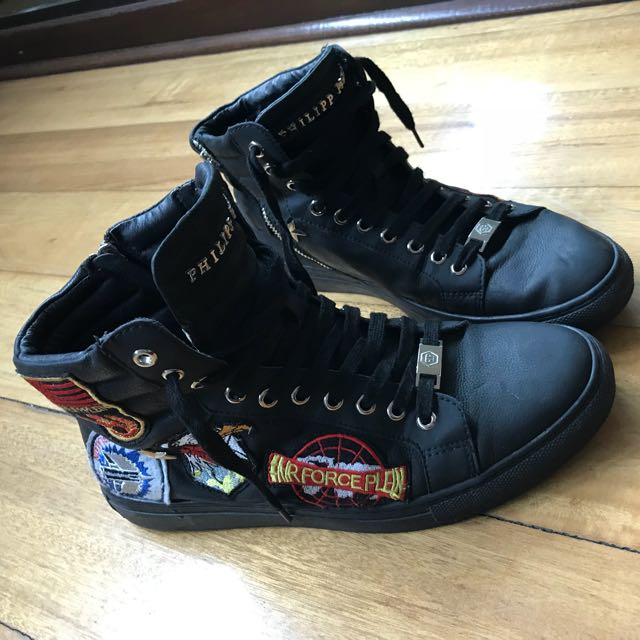 PHILIPP PLEIN Schwarze High-Top-Sneakers size 9