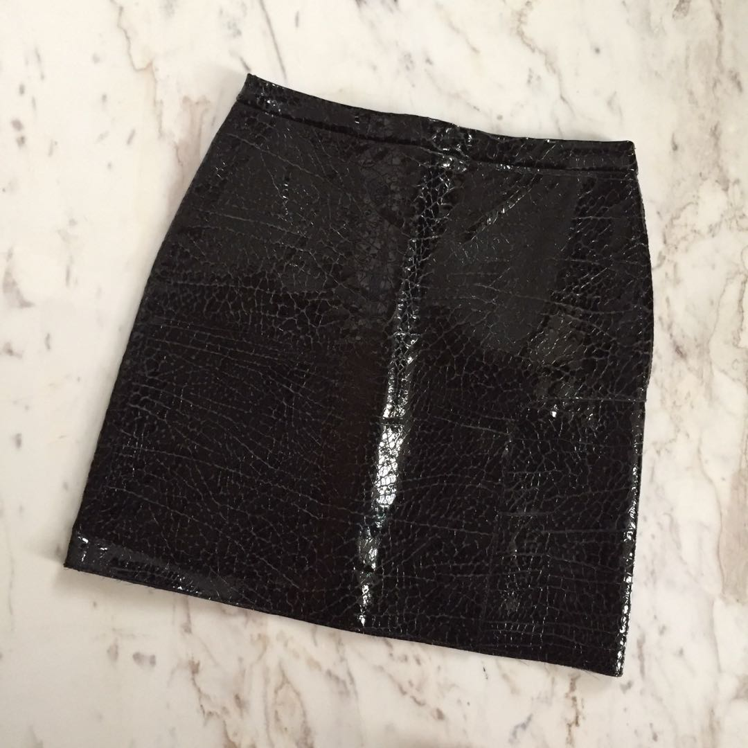 Phillip Lim Crackled Leather Skirt