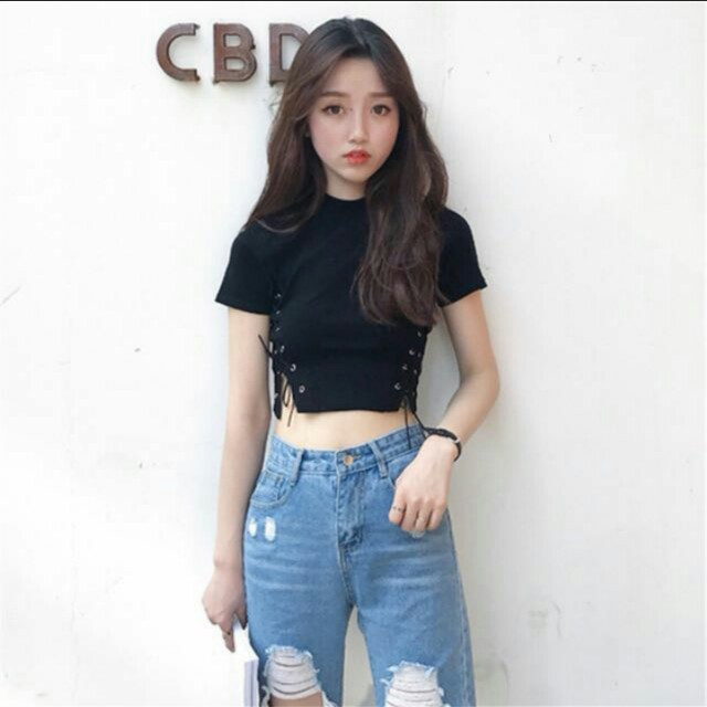 2cf0a3dcc (PO) Korean Ulzzang Side Lace-Up Black and White Crop Top, Women's Fashion,  Clothes, Tops on Carousell
