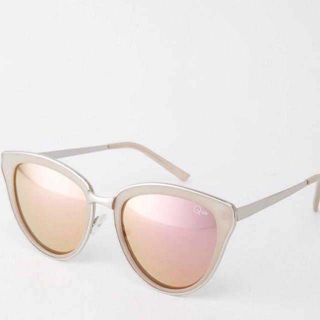 Quay Cat Eye Sunglasses With Pink Lense