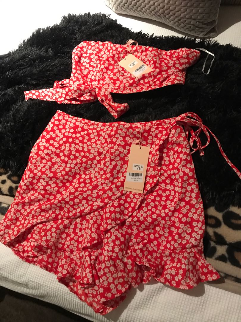 Red set /co-ord size 10 brand new with tags