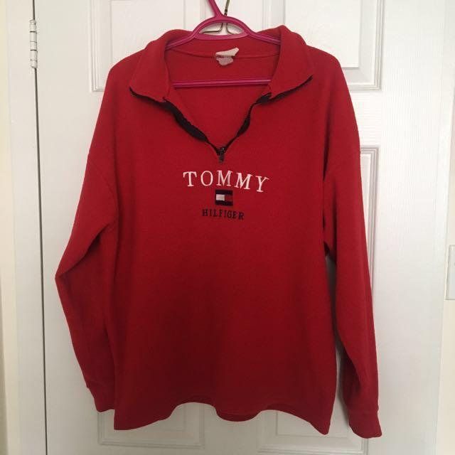 Red Tommy Hilfiger Quarter Zip