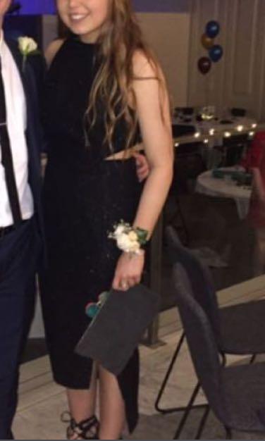 Sheike size 12 asymmetrical black sparkle formal dress