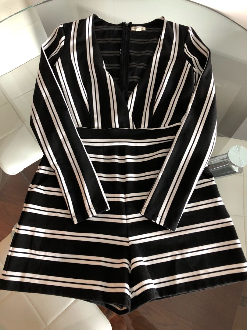 Silence&Noise Black and White Stripe Playsuit/Romper Size Small