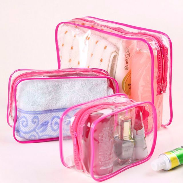 9a169bc066 SPG0088 - (SALE) 3 Piece in 1 Cosmetic Makeup Toiletry Clear PVC ...