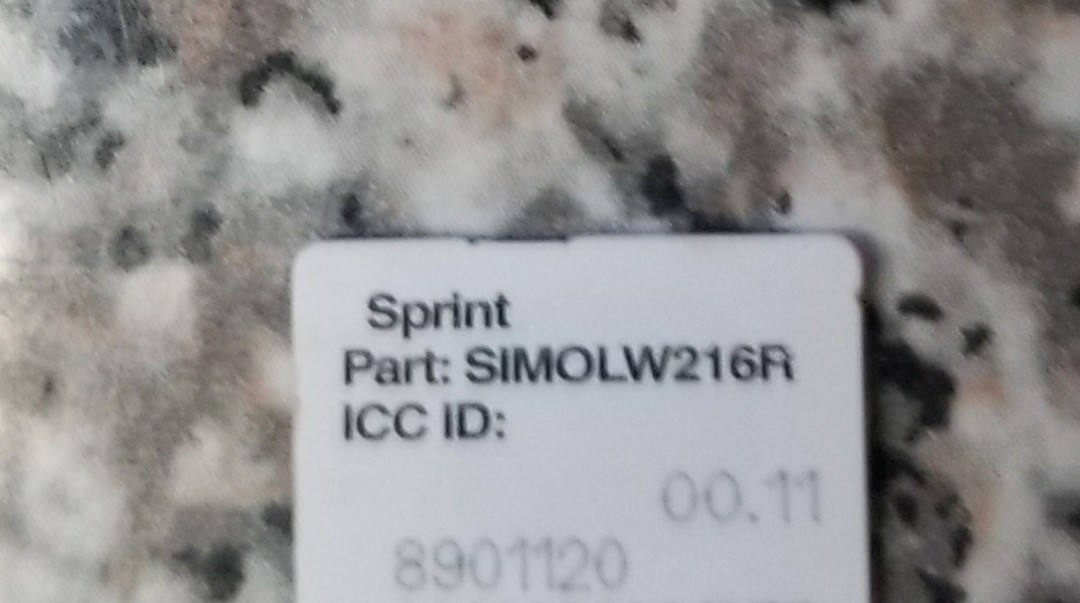 Sprint Boost Virgin Mobile Cell Phone Carrier UICC ID