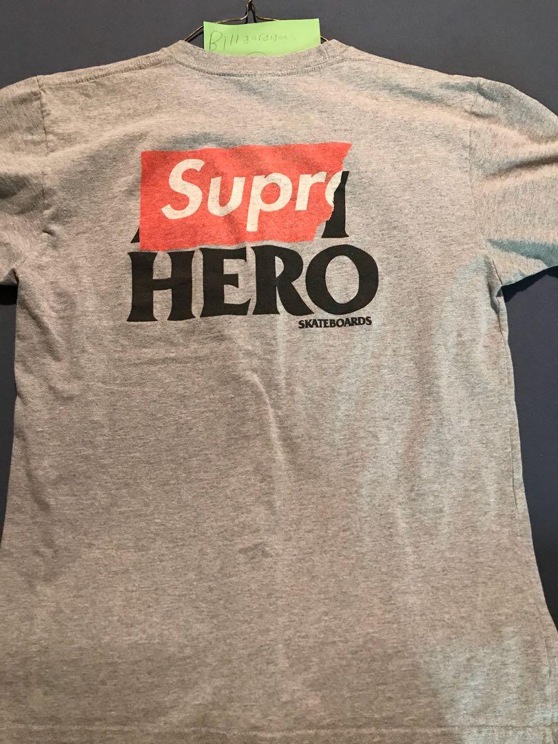 supreme anti hero box logo gray tee shirt