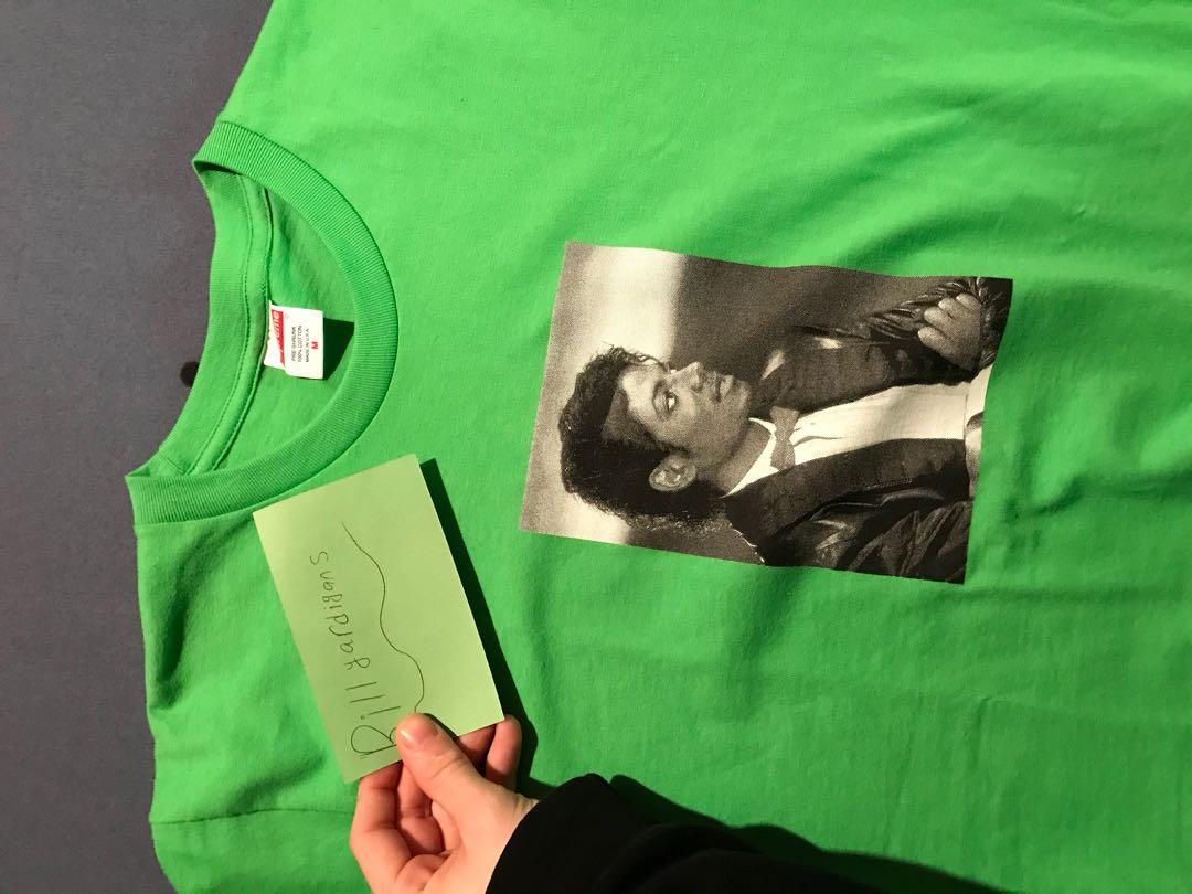 supreme michael jackson lime green box logo tee