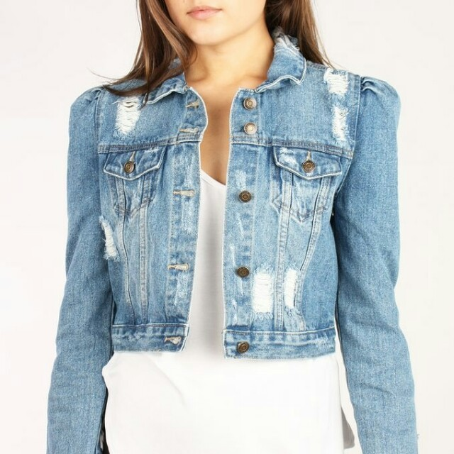 f212f4a3 Carousell의 Tattered Puff Sleeve Zara Denim Jacket, Women's Fashion, Clothes