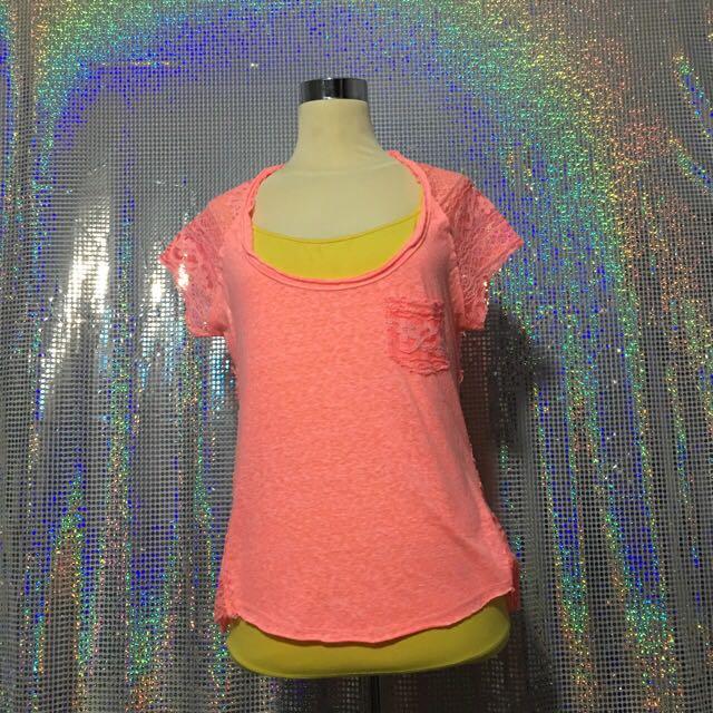 top - pink neon brokat