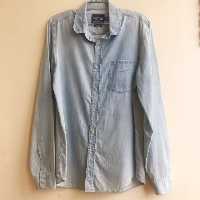 Topman Long Sleeve Denim Shirt