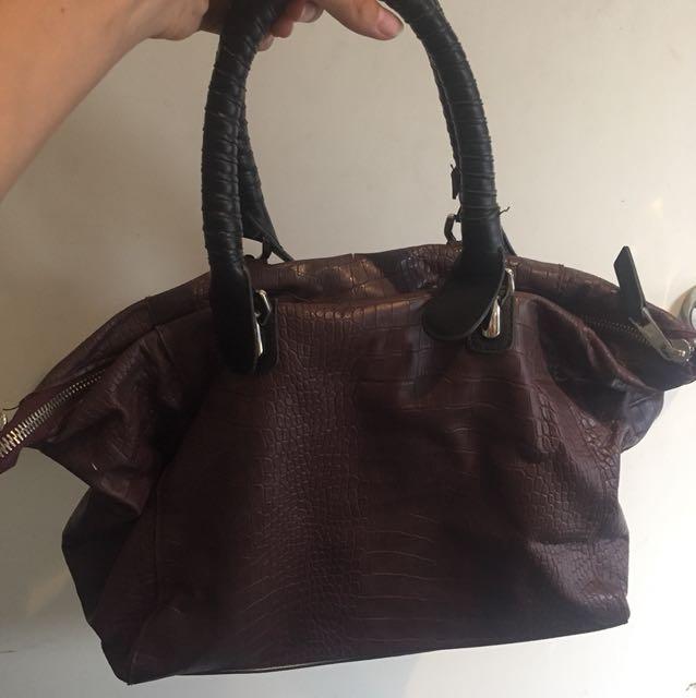 TOPSHOP burgundy snake skin print bag