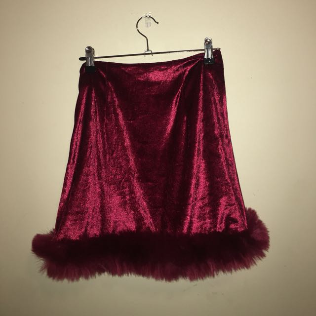 Velvet faux fur skirt