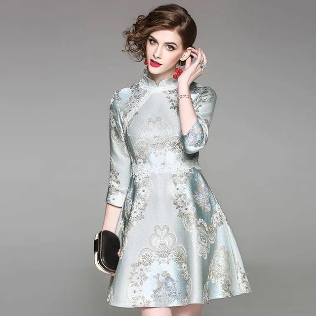 c322ac4caea Vintage cheongsam flared dress embroidered Qipao skirt traditional Chinese  costume