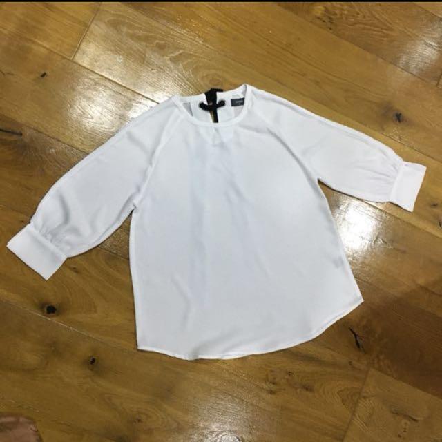 White blouse with ribbon sesh