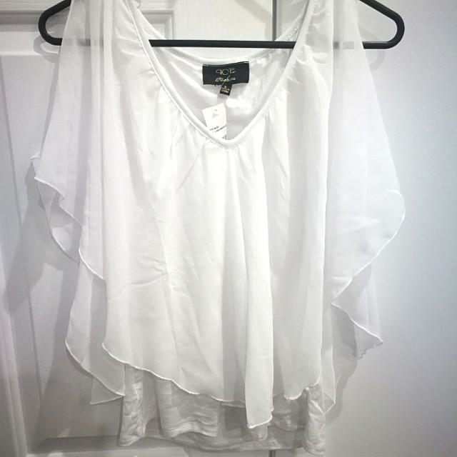 white, cold shoulder top