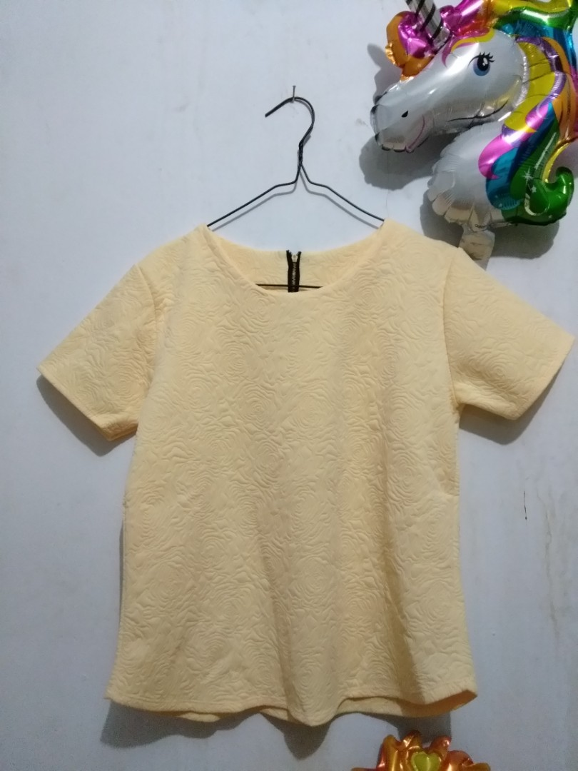 Yellow flower embroider top