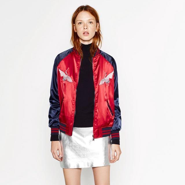 Zara embroidered reversible bomber jacket