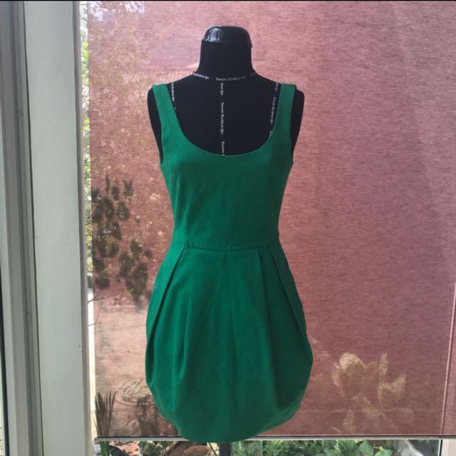 Zara trf green balloon dress