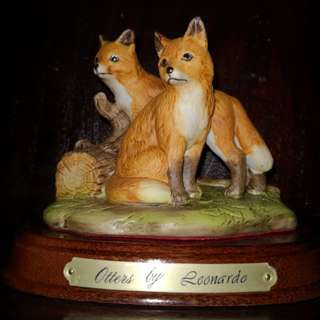 Vintage Hand painted porcelain fox figures