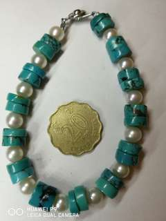 綠松石真珠手串