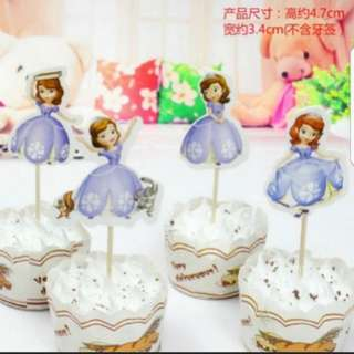 Sofia the first Cupcake Cake Jelly Toppers Pick Party Birthday Baby Decoration