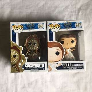 Funko Pops - Beauty and the Beast (Belle + Cogsworth)