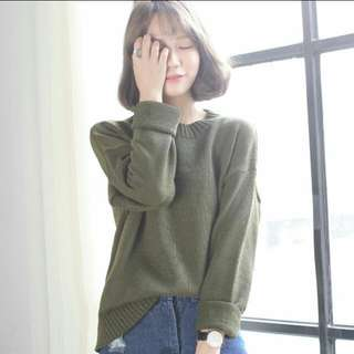 Korean Basic Knitted Pullover In Kaki/Nude