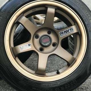 Te37sl 15 inch sports rim vios tyre 70%. Pen merah pen biru, ini rim manyak padu!!!