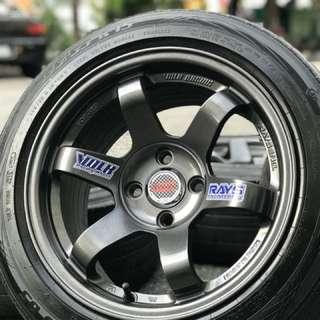 Te37sl sports rim wira 15 inch tyre 70%