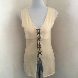 Knit Top / Cover Up With Leather Tie