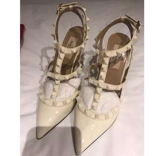 Valentino Rockstud Special Edition All White Patent Pumps