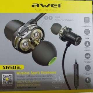 AWEI X650BL 無線耳機藍牙耳機 ( 全新 )