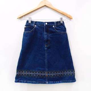 Blue Denim Jeans Embroidery Skirt Vintage